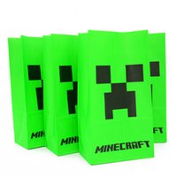 Cheap Hot Minecraft Popcorn Paper Bag Creeper Party Bag Food Gift Bag Minecraft Party Material Party Decoration Paper Bag Free Shipping In stock