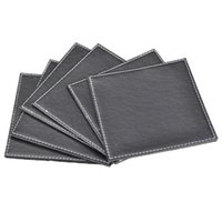leather coaster - Special quality black leather coasters set tea cup mat insulation pad pad