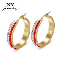 basketball wives cross earrings - Luxury crystal hoop earrings fashion k gold stainless steel women earring basketball wives jewelry Christmas party gift