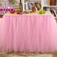 Cheap 4 Colors Tulle Tutu Table Skirts Sashes 91.5cm *80cm New Festival Wedding Event Party Decorations Suppliers Chair Cover Ribbons CPA536