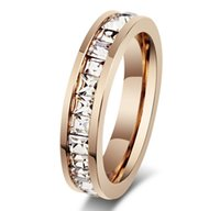 Wholesale Titanium steel rose gold plating Women s ring Super flash single row Square diamond ring Rings for women