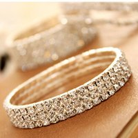 Wholesale One row Rhinestone crystal bracelets sterling silver elastic cord Chain bridal luxury jewelry for women girls