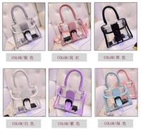 Wholesale IN Stock Women s fashion Jelly Purse Clear Transparent Summer Beach Totes Shopper Beach Shoulder Bag Handbag LB51