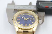 daydate - Superlative Chronometer Quartz Men s Wristwatch Full Yellow Gold Belt Blue Face With Calendar Folding Clasp Daydate Male Watch