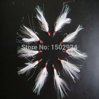 Wholesale 10Pcs Freshwater Saltwater Fishing Trailer Hooks White Feather Treble Fishhook Very Convenient Durable Fishing Tool