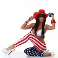 Wholesale Hot American flag stars stripes printed leggings legging asymmetrical stitching