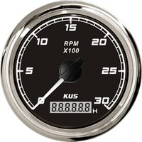 Wholesale 85mm tachometer SQ KF07018 black faceplate stainless steel KL for marine boat car truck high quality red backlight