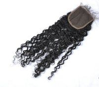 Wholesale Cheap A Afro Kinky Curly Closure Top Closure Human Hair Three Middle Free Part Swiss Lace Top Closure Virgin Hair Deep