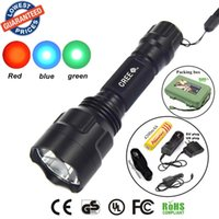Wholesale C8 CREE LED Flashlight Blue Red Green Light Torch led torch flashlight torch light x18650 Rechargeable battery car cahrger holster
