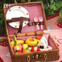 baby gift baskets free shipping - Baby Toys Wooden Toys Mother Garden Picnic Basket Baby Pretend Play Simulation Kitchen Toys Gift