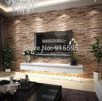 Wholesale PVC Wood Stone Brick Waterproof Exfoliator Wall Paper D Modern Luxury Vintage Embossed Wallpaper Livingroom Background Decor