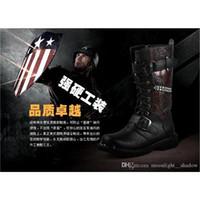 Cheap new style Mens soldier Boots Cool Rivet Knee Boots Heighten Boots Outdoor Martin cowboy boots