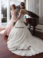 Wholesale Straight Strapless Wedding Dress - 2015 An organza A-line bridal gown with strapless straight neckline dropped waistlien lace appliques zipper back Wedding Dresses L022728