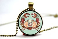 art cancer - 10pcs Zodiac Cancer Necklace Cancer Art Pendant Charm With Necklace Chain Silver Plate Glass Cabochon Photo necklace