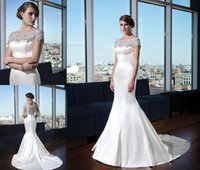 Wholesale Mermaid Wedding Dresses Bateau Neckline With Sparkle Crystal Beaded And Back Stain Bridal Gown Charming Romantic