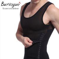 Wholesale Burvogue hot men shaper vest slimming body shaper waist cincher tummy control girdle shirt underwear belly sport shaperwear tank top