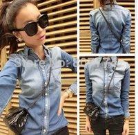 gradient denim shirt - 2015 autumn new Denim Shirt for women korea style hot ladies Gradient Color Slim Long sleeve Shirt Jeans skirts Blouses Tops Outerwear C657