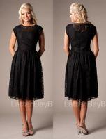 Wholesale Vintage Black Lace Short Modest Bridesmaid Dresses With Cap Sleeves Simple Temple Bridesmaid Gowns Modest