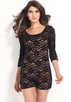 overalls - Women s Sexy Jumpsuit Black Cream Lace Long Sleeve Nude Illusion Knotted Key Hole Back Romper Short overalls Plus Size XXL B5051