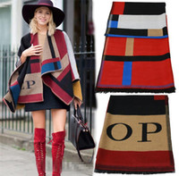 Cheap 2 colors women blanket scarf plaid womens scarf OP Cashmere Wool Scarf Monogramed OP scarf Plaid cashmere pashmina scarves for women LA178-2