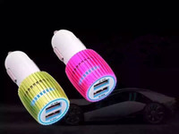 Wholesale Steel Ring dual usb A A port LED Lighting Car charger universal travel adapter for iphone6 s ipad5 samsung Galaxy HUAWEI LG
