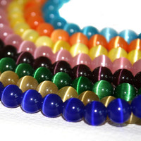 bead assortment - Hot Selling Cat Eye Beads mm Glass Round Beads strand Mixed Color Assortment BBB003