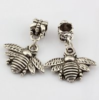 Charms bee charms beads - Hot Antique silver Bees Charms Dangle Bead Fit Charm Bracelet DIY Jewelry mm