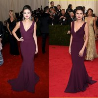 Golden Globe Awards selena gomez - Wonderful Sexy Selena Gomez Grape Mermaid V neck Met Gala Red Carpet Celebrity Dresses Backless Evening Prom Dress