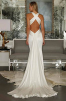 Wholesale 2015 Beach Sexy Wedding Dresses Criss Cross Straps Pleats Mermaid Backless Bridal Gowns Satin Summer Fishtail New Bride Wear with Long Train