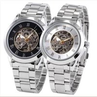 Cheap Elegant Hollow Skeleton Mechanical Auto Wristwatch Mens Metal Band Wrist Watch for Male Gift