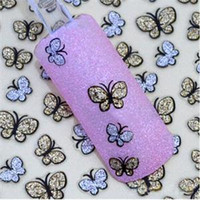 Wholesale New Lovely D Glitter Butterfly Type Stickers for Nail Decoration Cute Shining Nail Art Decorations for Gills
