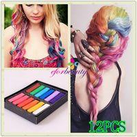 Wholesale 12 Colours Non Toxic Temporary Color Hair Chalk Dye Soft Pastels Salon Kit Hair Styling Tools set
