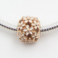 pandora jewelry - pandora Openwork daisy Rose charm with white enamel Rose Gold Plated charms loose beads diy jewelry for thread bracelet A3708
