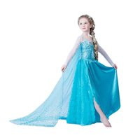 beautiful cotton - Hot Selling Frozen Girls Ball Gown Dresses with Blue Cape Veil Beautiful Princess Lace Cosplay Elsa Dresses Fashion Kids Clothing Dropship