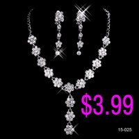 black friday - In Stock Fashion Bridal Jewelry Sets Necklace Earrings Crystal Flower Rhinestone Accessories for Prom Party Wedding Black Friday