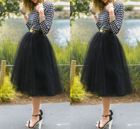 Polyester Skirting - 2015 New Arrival Tea Length Cheap Black Tulle Skirts Princess Layered Voile Tulle Skirt Bouffant Puffy Skirt Ruched Long Skirts