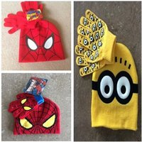 Wholesale Hot salehigh Minion wool hats gloves fashion set Despicable me Children cartoon hat spider man hats winter caps and Finger gloves kids chri