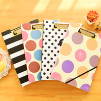 Wholesale Pieces Writing Clipboard Stripe Paper Holder Pad Dot Writing Board A4 Office Folder Clip Cute Clipboards a4 Paper Holder
