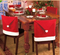 Wholesale Santa Clause Red Hat Chair Back Cover Christmas Dinner Table Party Decor For Christmas Chair Covers Dinner Chair Xmas Cap Sets in stock