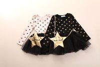 baby star designer clothing - Hot sale baby girls dresses autumn cotton clothes girl dress kids fashion cute designer brand girls wear printing stars tulle