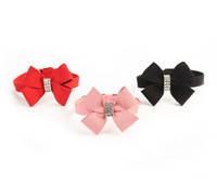 Wholesale Rhinestone Bow Neck Tie Soft Velvet Pet Puppy Collars for Small and Medium Dog Accessories