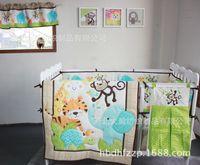 Wholesale Musim dingin musim gugur bordir bayi hewan butir tidur set termasuk selimut Bumper tidur rok kasur untuk menutupi tas popok tirai jendela
