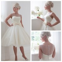 Wholesale Daisy Sexy A Line Wedding Dresses Tull White Sheer Beteau Cap Sleeves Satin Bow Covered Button Tea Lenght House Of Mooshki Bridal Gowns