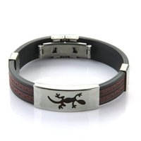 beaded lizard bracelet - HOT SALE Stainless Steel Lizard Black Red Silicone Bangle Cuff Bracelet Men