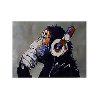 Wholesale Hand painted Modern Abstract Oil Painting Orangutan Listening to Music Decorative Art for Home Living Room Bedroom without Frame H16115