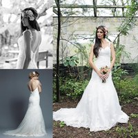 adams reds - Carita Adams Wedding Dresses Spring Collection Real Photos Mermaid Bridal Gowns Spaghetti Straps Low Covered Buttons Back Lace Applique