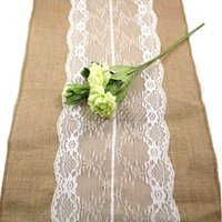 Wholesale Free By DHL x275cm Burlap Lace Hessian Table Runner Jute Country Outdoor Wedding Party Decor x108