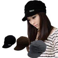 Wholesale Fashion Badge Pleats Visor hats Solid Cotton Unisex Round Crown cap Color M HM311 S1