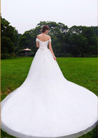 Wholesale Off Shoulder Vintage China Wedding Gowns With Diamonds And Crystals Country Styles Chapel Train Bridal Wedding Dresses Plus Size ZC