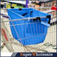folding shopping cart - Large Capacity Folding Cart Supermarket Shopping Bags Environmental Protection Shopping Tote Bags Colors cm